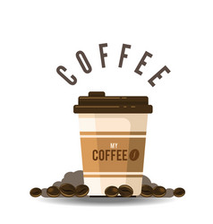 coffee cup coffee bean background image vector image