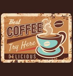 coffeeshop espresso drink rusty metal plate vector image