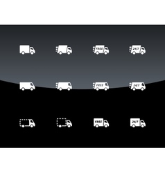 Commercial van icons on black background vector image