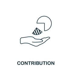 Contribution icon outline style thin line vector
