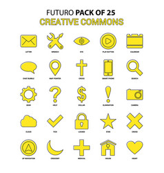 Creative commons icon set yellow futuro latest vector