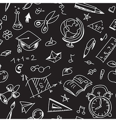 Creative seamless school pattern with calk vector image