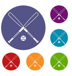 crossed baseball bats and ball icons set vector image