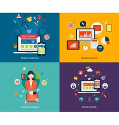 Customer support and social network vector image