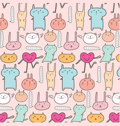 Cute animal pattern background vector