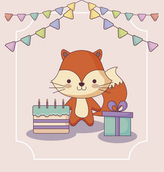 Cute fox happy birthday card with gift and icons vector