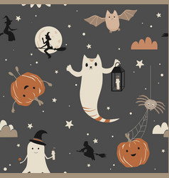 cute halloween seamless pattern with ghosts bats vector image