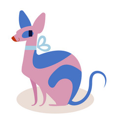 cute pink and blue cartoon cat sphinx with a bow vector image