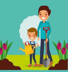 Dad and son gardeners wtih watering can shovel and vector
