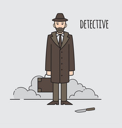 detective occupation character design cartoon vector image