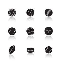 Different sports game balls Black vector image