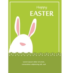 Easter bunny looking out a green retro background vector image