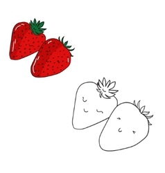 Educational game coloring book strawberry fruit vector