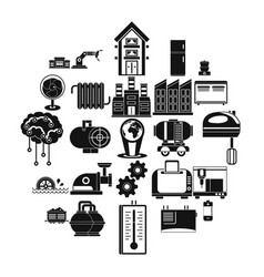 electrical engineering icons set simple style vector image