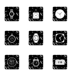 Electronic watch icons set grunge style vector