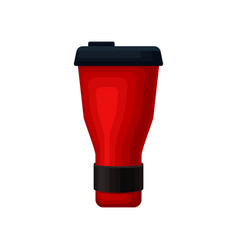 Flat icon of red aluminum thermo mug vector