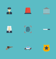 Flat icons lawyer thumbprint officer emblem and vector