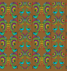 floral seamless pattern on golden background vector image