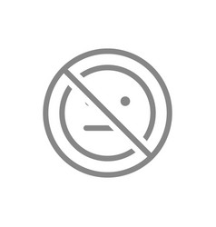 Forbidden sign with a expressionless emoji line vector