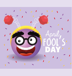 Funny face with glasses to fools day vector