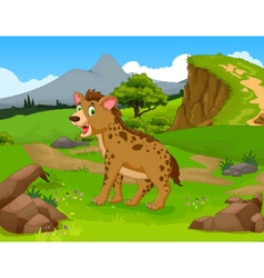 Funny hyena cartoon in the jungle with landscape b vector
