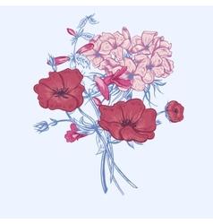 Gentle Retro Summer Floral Greeting Card Vintage vector