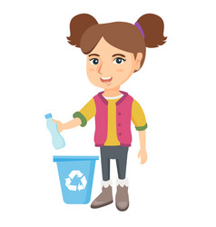 girl throwing plastic bottle in recycle bin vector image