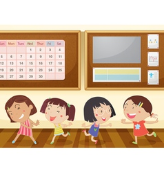 Girls in classroom vector