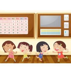 girls in classroom vector image