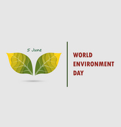 green leaves sign world environment day concept vector image