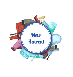 hairdresser or barber cartoon elements vector image