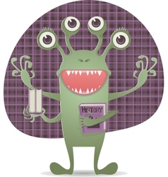 Happy monster with book vector
