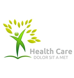 Healthcare logo human character leaves people vector