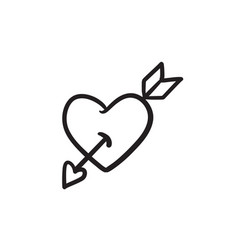 Heart pierced with arrow sketch icon vector