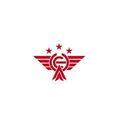 Iniitial ch flying eagle bird logo template vector