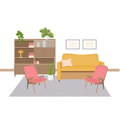 Interior living room furnished with retro vector