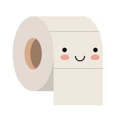 Kawaii toilet paper roll in colorful silhouette vector