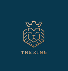 king lion face line style abstract sign vector image