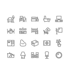 line home room types icons vector image