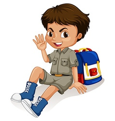 Little boy sitting by his backpack vector