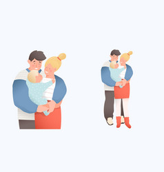 Little cute bakid bonding young family vector