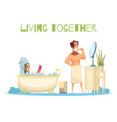 living together concept vector image