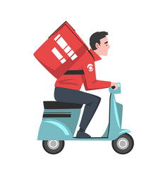 male courier riding scooter with red parcel box on vector image