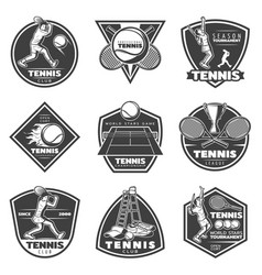 Monochrome vintage tennis labels set vector