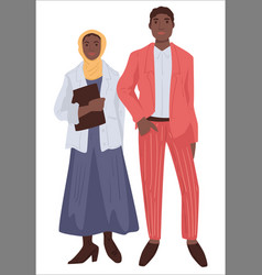 Muslim couple man and woman in modest clothes vector