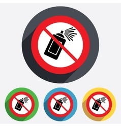 No Graffiti spray can sign icon Aerosol paint vector image