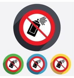 No Graffiti spray can sign icon Aerosol paint vector