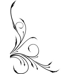 Ornamental floral corner for your design or tattoo vector