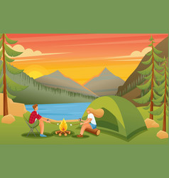 people around fire fry marshmallows vector image