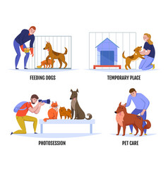 people help dogs composition vector image